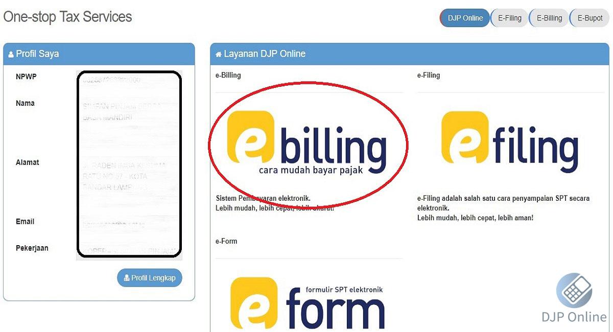 DJP Online e-billing Payment indonesia 2020